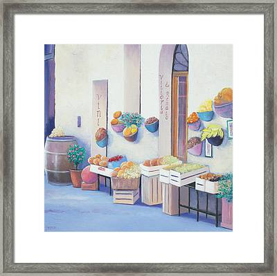 Fruit Market In Tuscany Framed Print by Jan Matson