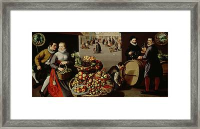 Fruit Market Framed Print by Lucas van Valckenborch