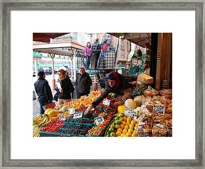 Fruit Market Vendor Framed Print