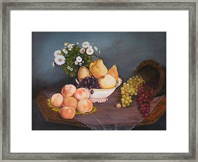Fruit On Table Framed Print by Virginia Butler
