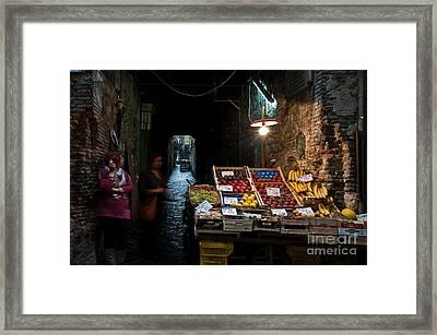 Fruit Stall Framed Print by Marion Galt