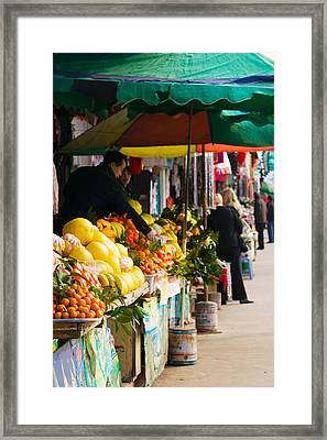 Fruit Stalls At A Street Market Framed Print by Panoramic Images