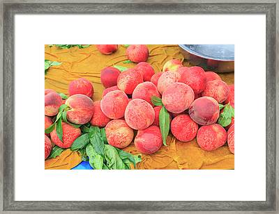 Fruit Stand Selling Fresh Peaches Framed Print by Stuart Westmorland