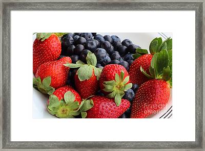 Fruit - Strawberries - Blueberries Framed Print by Barbara Griffin