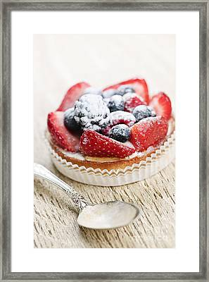 Fruit Tart With Spoon Framed Print by Elena Elisseeva