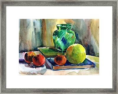 Fruits And Artbooks Framed Print by Anna Lobovikov-Katz