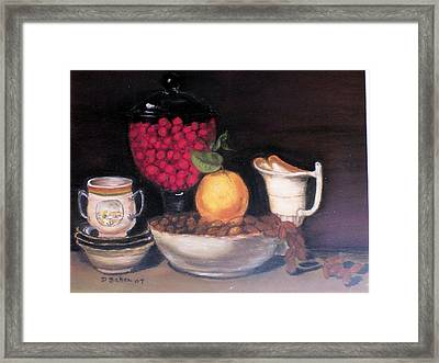 Framed Print featuring the painting Fruits And Nuts by Debbie Baker