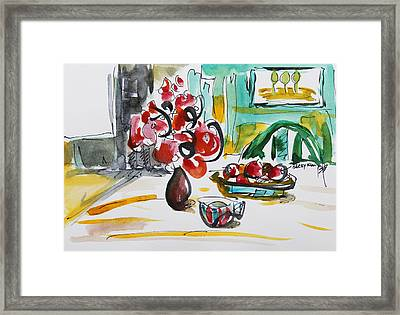 Fruits And Tea Framed Print by Becky Kim