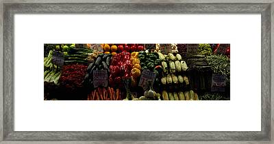Fruits And Vegetables At A Market Framed Print by Panoramic Images