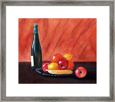 Fruits And Wine Framed Print