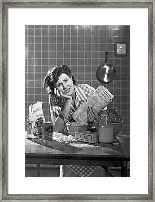 Frustrated Woman Baker Framed Print by Underwood Archives