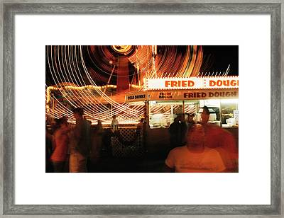 Fryeburg Fair At Night  Fried Dough Framed Print by John B Poisson