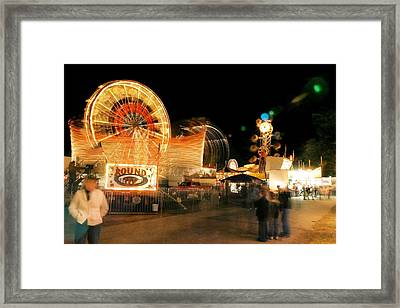 Fryeburg Fair At Night  Watching The Round-up 2 Framed Print by John B Poisson