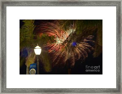 Ft. Pierce Fireworks Framed Print by Lynda Dawson-Youngclaus