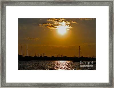 Framed Print featuring the photograph Ft. Pierce Florida Docks At Dusk by Janice Rae Pariza