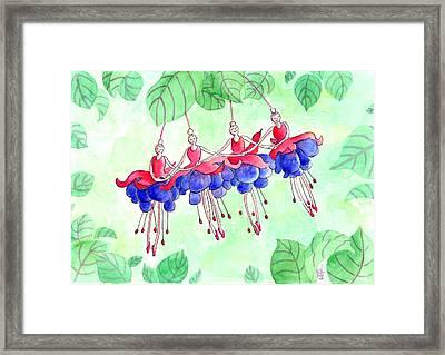 Fuchsia Pas De Quatre Framed Print by Julie  Hutchinson