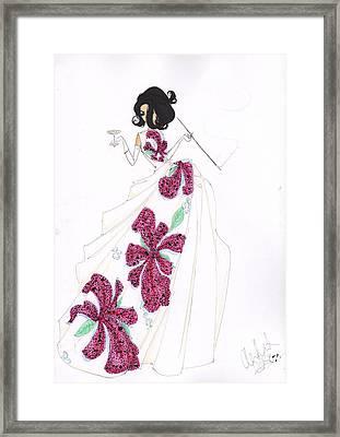 Fuchsia Tropical Silk Fashion Drawing Framed Print by Alex Newton