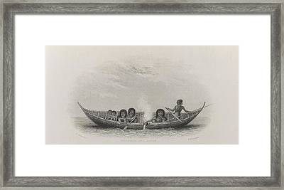 Fuegians And Canoe Framed Print by British Library
