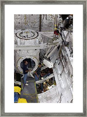 Fuel Cell Removal From Space Shuttle Framed Print by Kim Shiflett/nasa