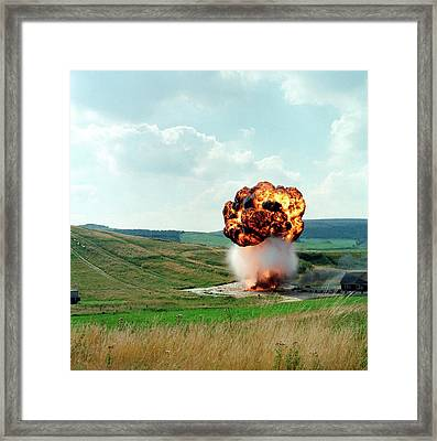 Fuel Tank Explosion Test Framed Print by Crown Copyright/health & Safety Laboratory Science Photo Library