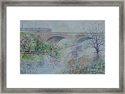 Framed Print featuring the painting Fuerth Seven Arch Bridge Siebenbogenbruecke  by Alfred Motzer