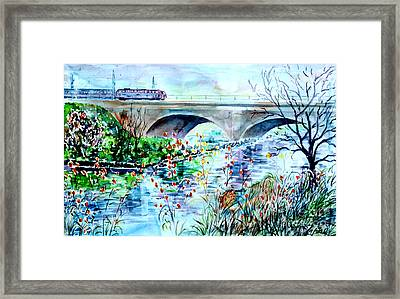 Framed Print featuring the painting Fuerth Seven Arches Bridge by Alfred Motzer
