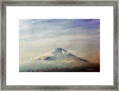 Framed Print featuring the painting Fuji Among The Clouds by Kai Saarto