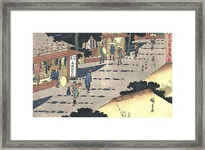 Fujikawa Station Tokaido Road 1838 Framed Print by Padre Art