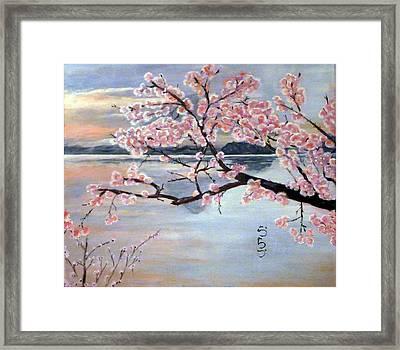 Fujisan No Sakura Framed Print