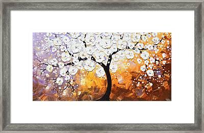 Full Bloom - White Blossoming Cherry Tree Framed Print by Christine Krainock
