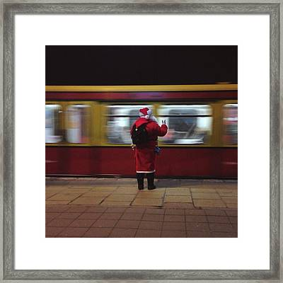 Full Length Rear View Of Man In Santa Framed Print by Monika Kanokova / Eyeem
