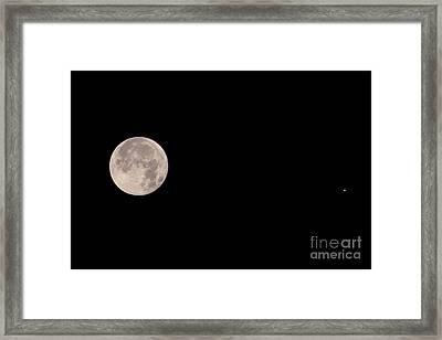 Full Moon & Jupiter Framed Print by John Chumack