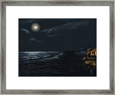 Full Moon Above The Mediterranean Sea Framed Print by Veronica Minozzi