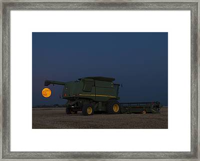 Framed Print featuring the photograph Full Moon And Combine by Rob Graham