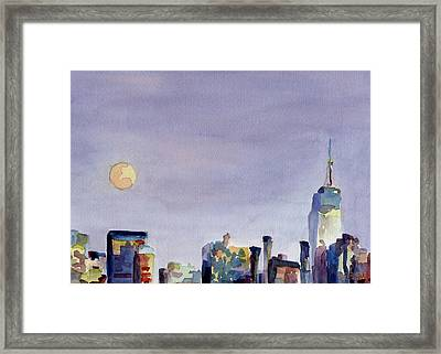 Full Moon And Empire State Building Watercolor Painting Of Nyc Framed Print by Beverly Brown