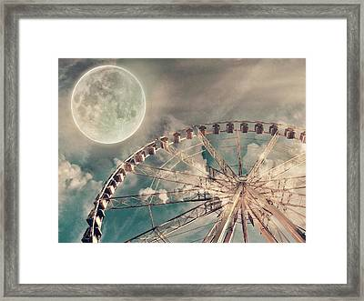 Full Moon And Ferris Wheel Framed Print by Marianna Mills