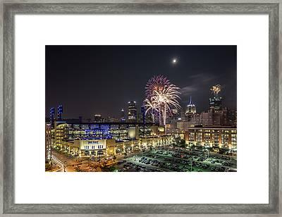 Full Moon And Fireworks 1 Framed Print