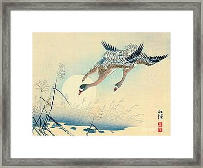 Full Moon And Flying Geese 1870 Framed Print by Padre Art