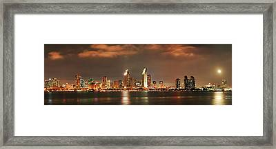 Framed Print featuring the photograph Full Moon And San Diego Skyline Panorama by Lee Kirchhevel