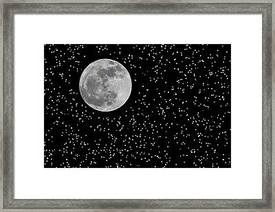 Full Moon And Stars Framed Print by Frank Feliciano