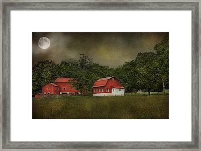 Full Moon At Buffalo Hollow Farm Framed Print