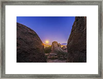 Full Moon At City Of Rocks Framed Print