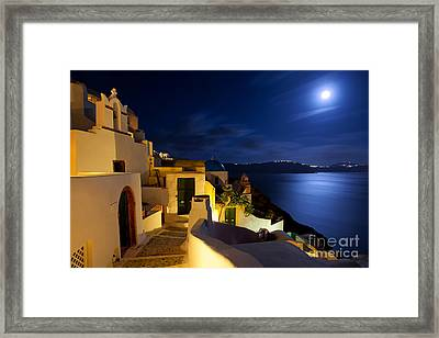 Full Moon At Santorini Framed Print by Aiolos Greek Collections