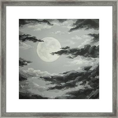 Full Moon In A Cloudy Sky Framed Print by Anna Bronwyn Foley