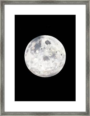 Full Moon In Black Night Framed Print