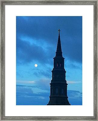 Framed Print featuring the photograph Full Moon In The Holy City by Joetta Beauford