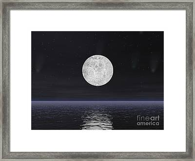 Full Moon On A Dark Night With Stars Framed Print