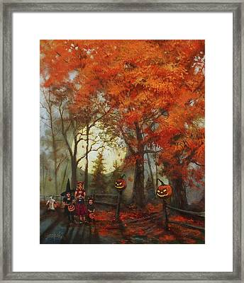Full Moon On Halloween Lane Framed Print by Tom Shropshire