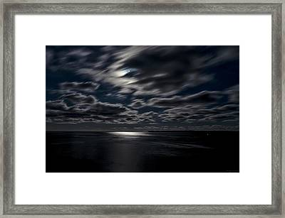 Full Moon On The Bay Of Fundy Framed Print by Marty Saccone