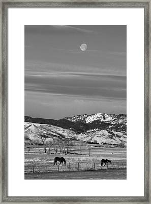 Full Moon On The Co Front Range Bw Framed Print